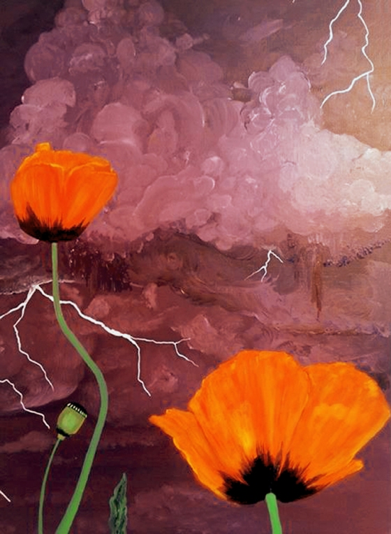 Poppies in the Storm by Linda Storm